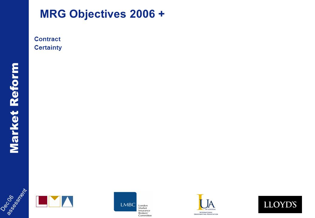 Market Reform Dec 06 assessment Contract Certainty MRG Objectives 2006 +