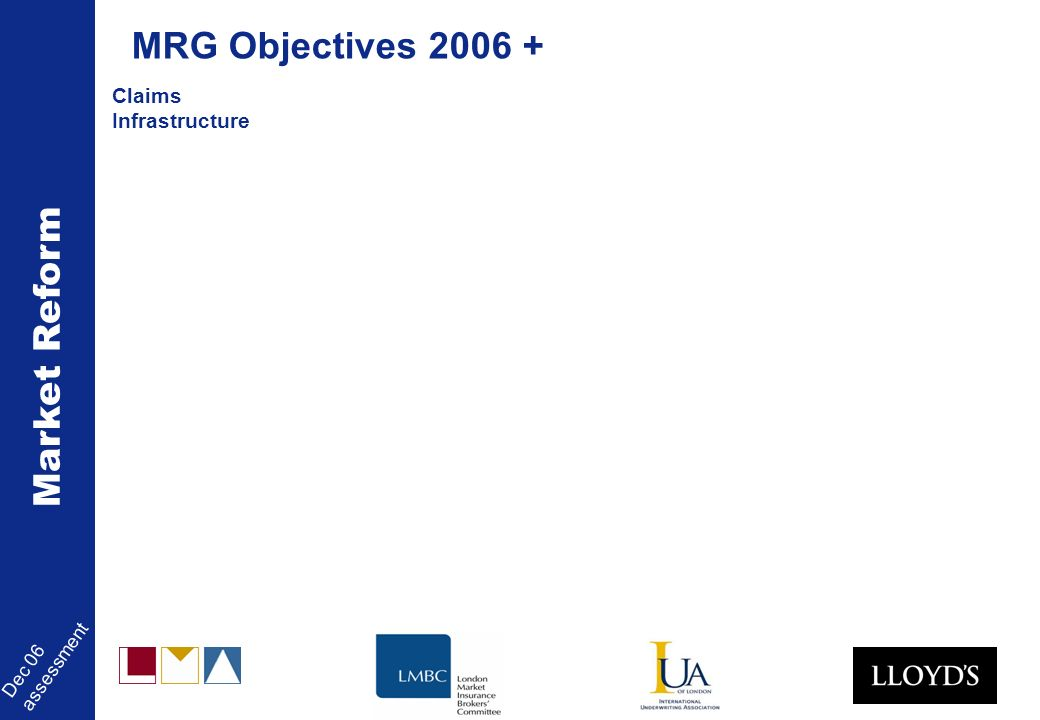 Market Reform Dec 06 assessment Claims Infrastructure MRG Objectives 2006 +
