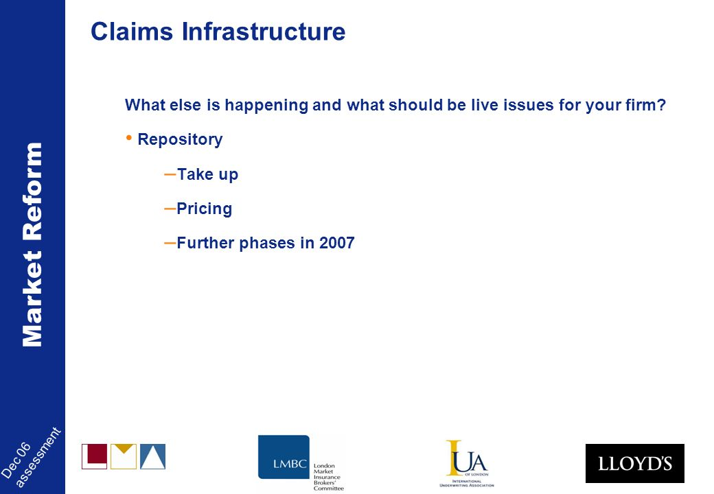 Market Reform Dec 06 assessment Claims Infrastructure What else is happening and what should be live issues for your firm.