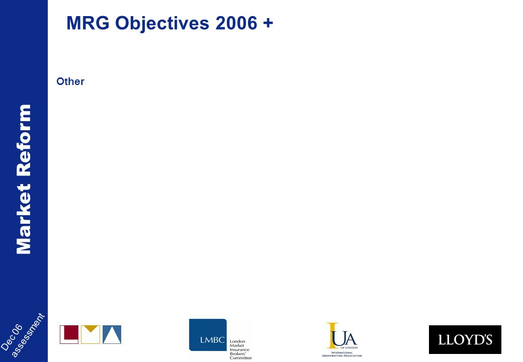 Market Reform Dec 06 assessment Other MRG Objectives 2006 +