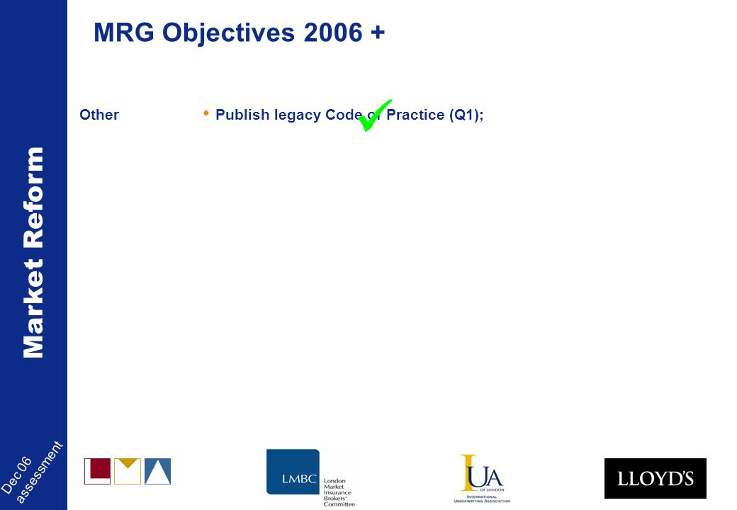Market Reform Dec 06 assessment Other Publish legacy Code of Practice (Q1); MRG Objectives 2006 +