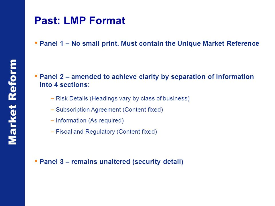 Market Reform Panel 1 – No small print.