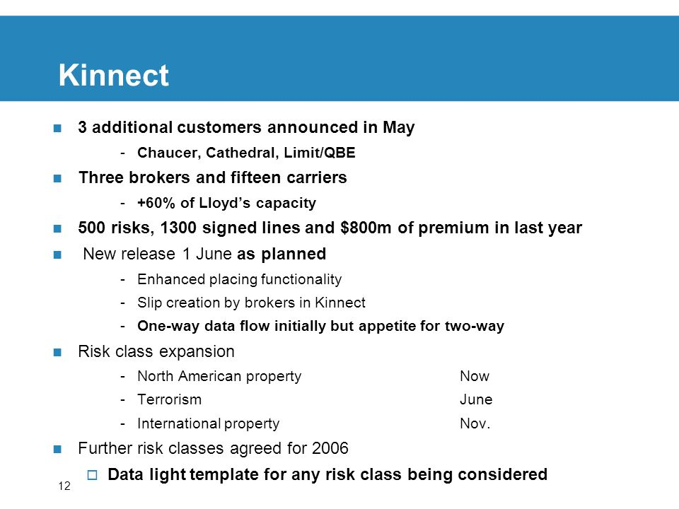 12 Kinnect 3 additional customers announced in May -Chaucer, Cathedral, Limit/QBE Three brokers and fifteen carriers -+60% of Lloyds capacity 500 risks, 1300 signed lines and $800m of premium in last year New release 1 June as planned -Enhanced placing functionality -Slip creation by brokers in Kinnect -One-way data flow initially but appetite for two-way Risk class expansion -North American propertyNow -TerrorismJune -International propertyNov.