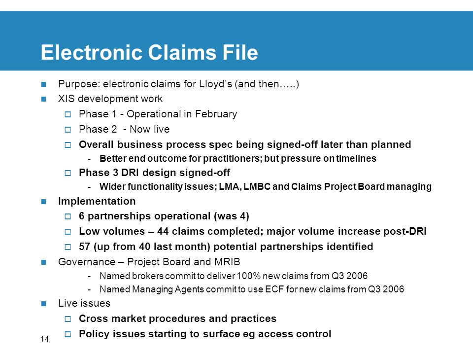 14 Electronic Claims File Purpose: electronic claims for Lloyds (and then…..) XIS development work Phase 1 - Operational in February Phase 2 - Now live Overall business process spec being signed-off later than planned -Better end outcome for practitioners; but pressure on timelines Phase 3 DRI design signed-off -Wider functionality issues; LMA, LMBC and Claims Project Board managing Implementation 6 partnerships operational (was 4) Low volumes – 44 claims completed; major volume increase post-DRI 57 (up from 40 last month) potential partnerships identified Governance – Project Board and MRIB -Named brokers commit to deliver 100% new claims from Q3 2006 -Named Managing Agents commit to use ECF for new claims from Q3 2006 Live issues Cross market procedures and practices Policy issues starting to surface eg access control