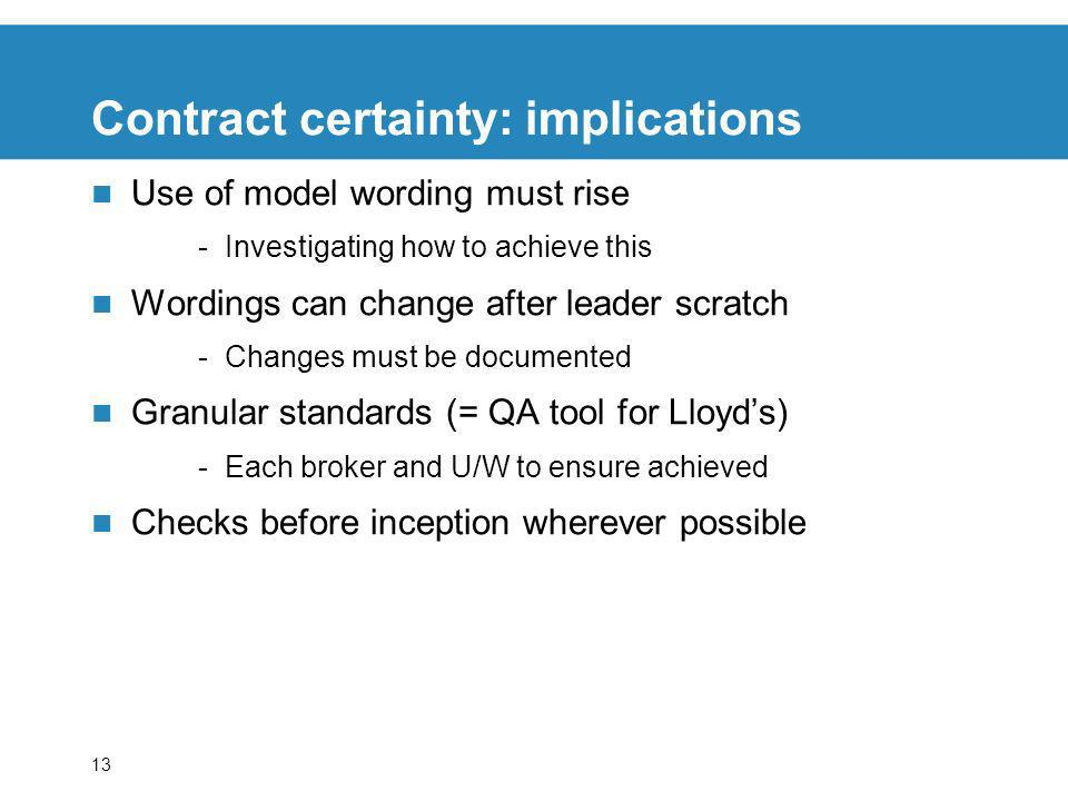 13 Contract certainty: implications Use of model wording must rise -Investigating how to achieve this Wordings can change after leader scratch -Change