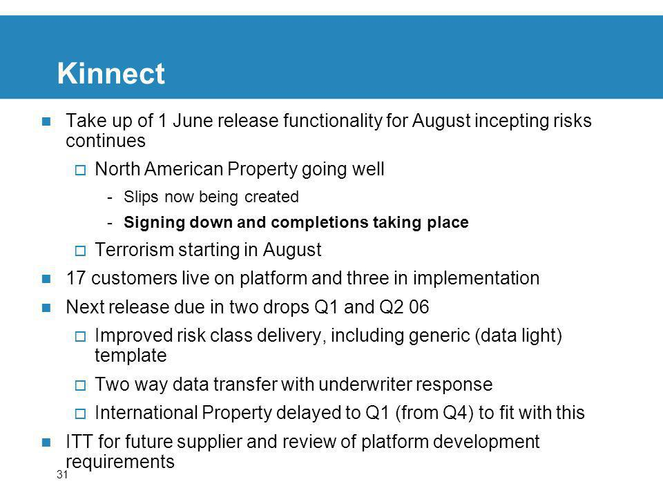 31 Kinnect Take up of 1 June release functionality for August incepting risks continues North American Property going well -Slips now being created -S