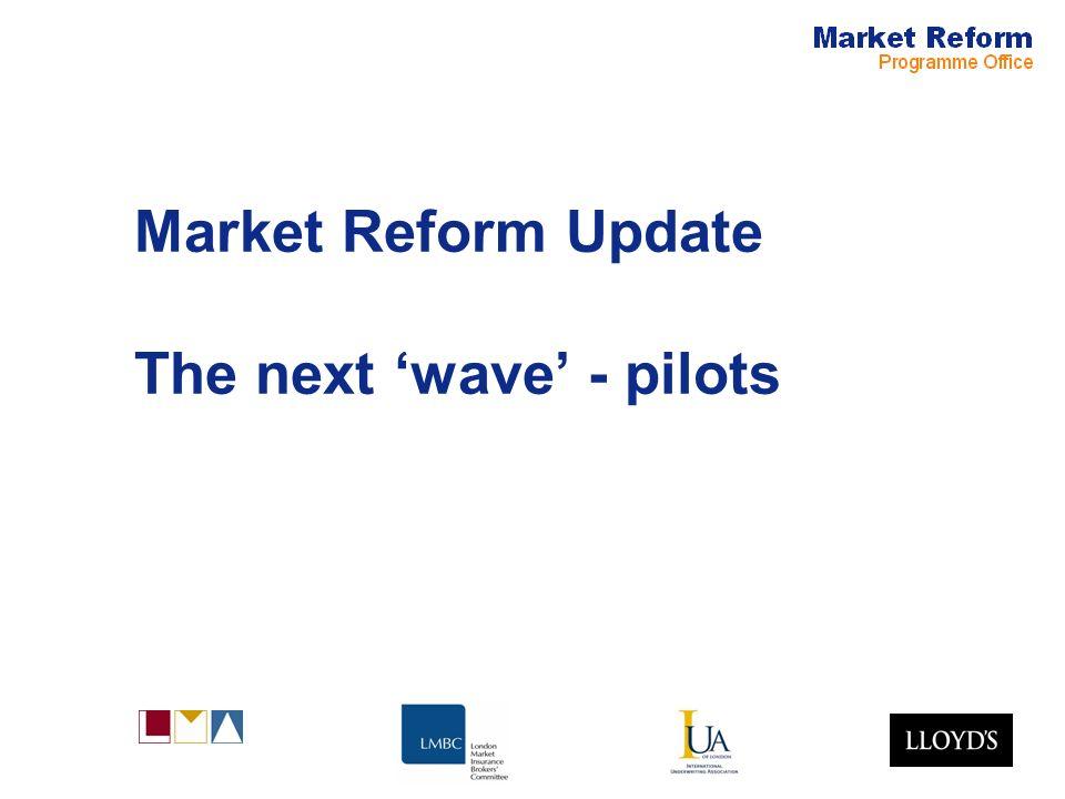 Market Reform Update The next wave - pilots