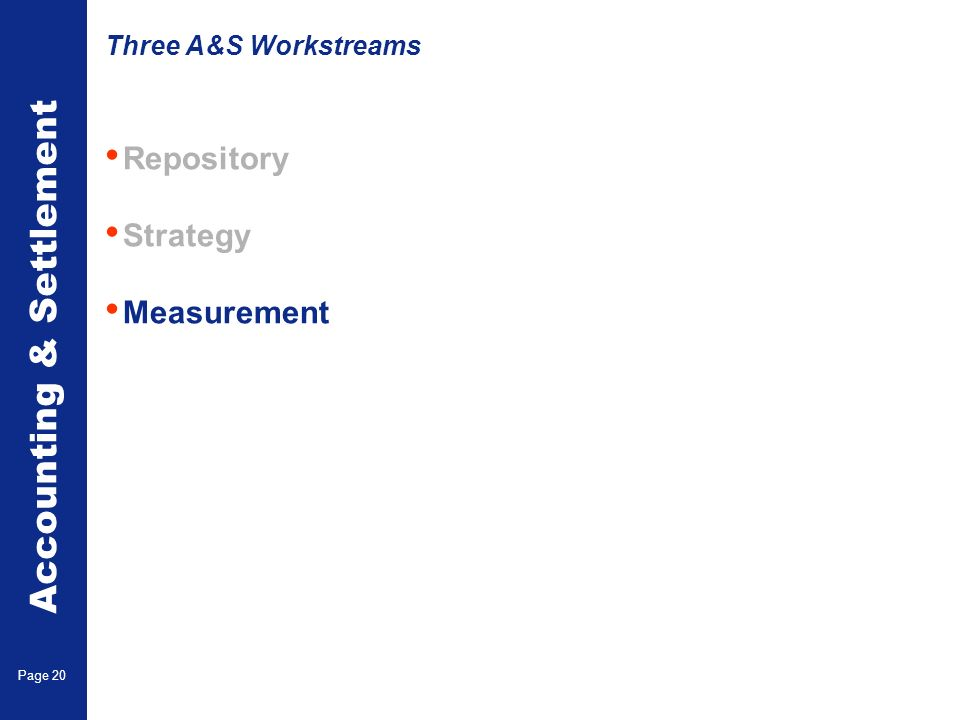 Accounting & Settlement Page 20 Repository Strategy Measurement Three A&S Workstreams