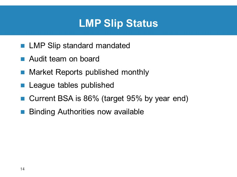 14 LMP Slip standard mandated Audit team on board Market Reports published monthly League tables published Current BSA is 86% (target 95% by year end) Binding Authorities now available LMP Slip Status