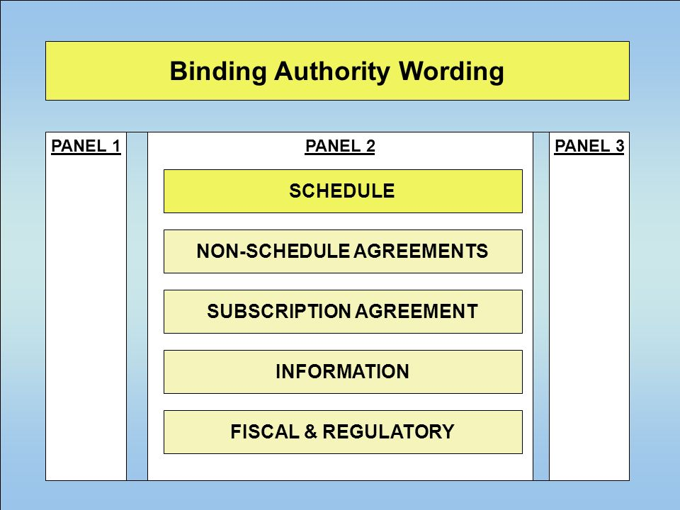 22 Binding Authority Wording PANEL 1PANEL 3PANEL 2 SCHEDULE NON-SCHEDULE AGREEMENTS SUBSCRIPTION AGREEMENT INFORMATION FISCAL & REGULATORY