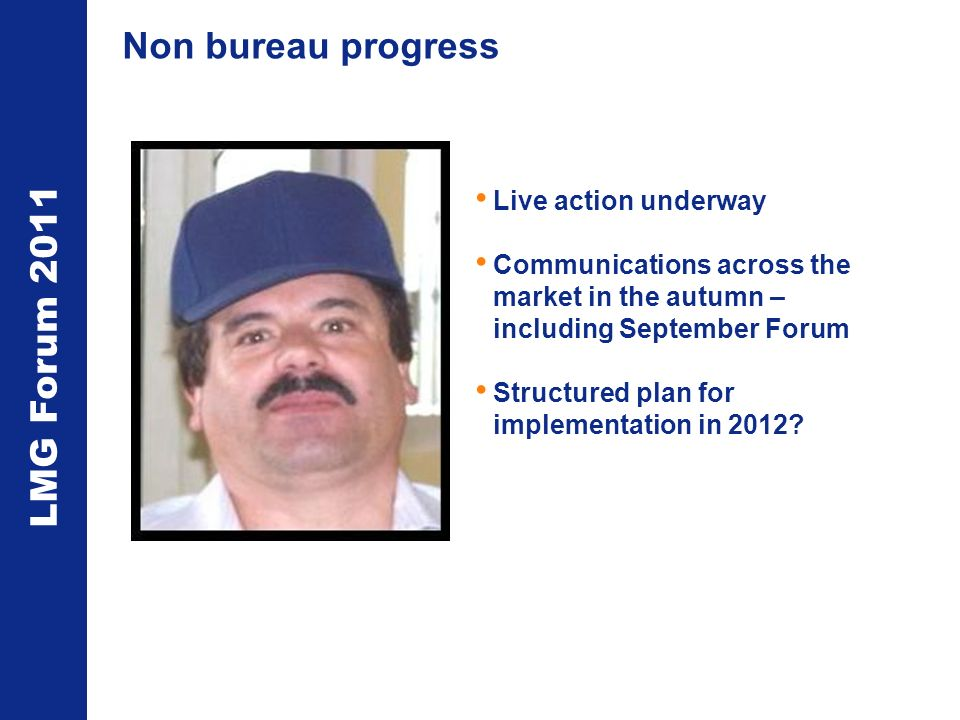 LMG Forum 2011 Non bureau progress Live action underway Communications across the market in the autumn – including September Forum Structured plan for