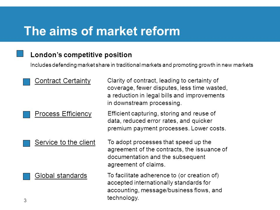 3 The aims of market reform Contract Certainty Clarity of contract, leading to certainty of coverage, fewer disputes, less time wasted, a reduction in legal bills and improvements in downstream processing.