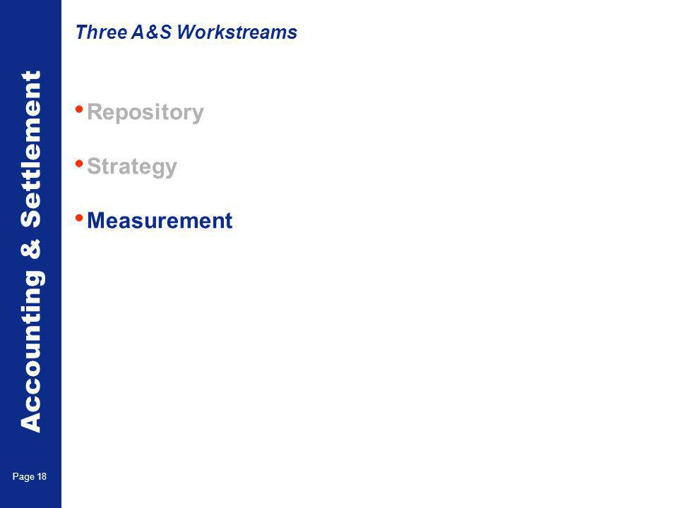 Accounting & Settlement Page 18 Repository Strategy Measurement Three A&S Workstreams