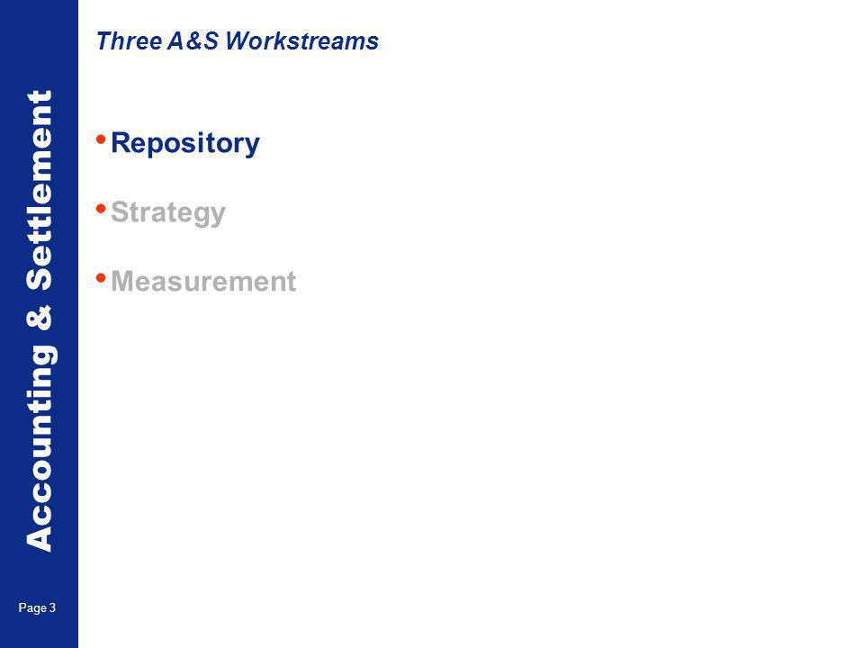 Accounting & Settlement Page 3 Repository Strategy Measurement Three A&S Workstreams