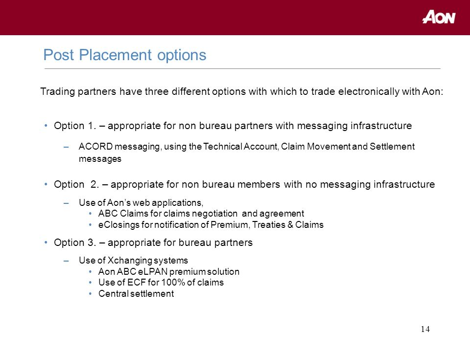 14 Post Placement options Option 1. – appropriate for non bureau partners with messaging infrastructure –ACORD messaging, using the Technical Account,