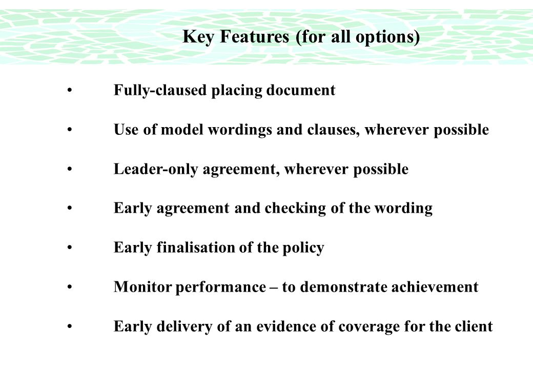 Key Features (for all options) Fully-claused placing document Use of model wordings and clauses, wherever possible Leader-only agreement, wherever possible Early agreement and checking of the wording Early finalisation of the policy Monitor performance – to demonstrate achievement Early delivery of an evidence of coverage for the client