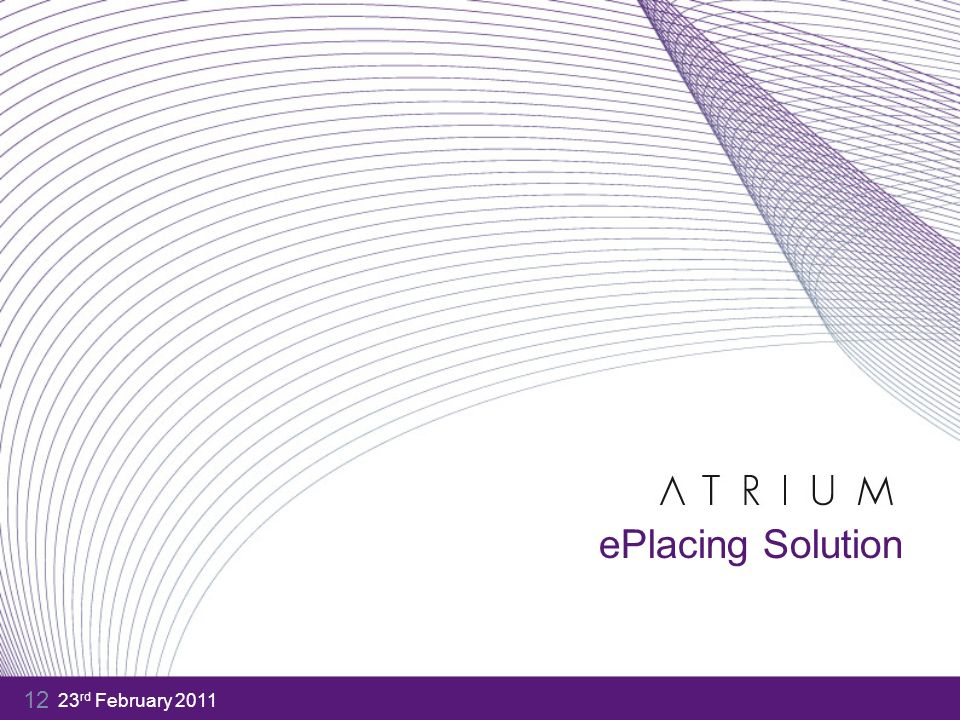 23 rd February 2011 12 ePlacing Solution