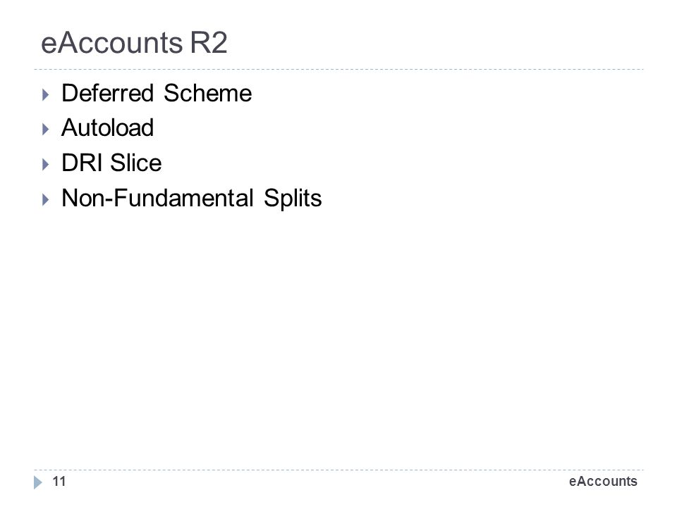 eAccounts eAccounts R2 Deferred Scheme Autoload DRI Slice Non-Fundamental Splits 11