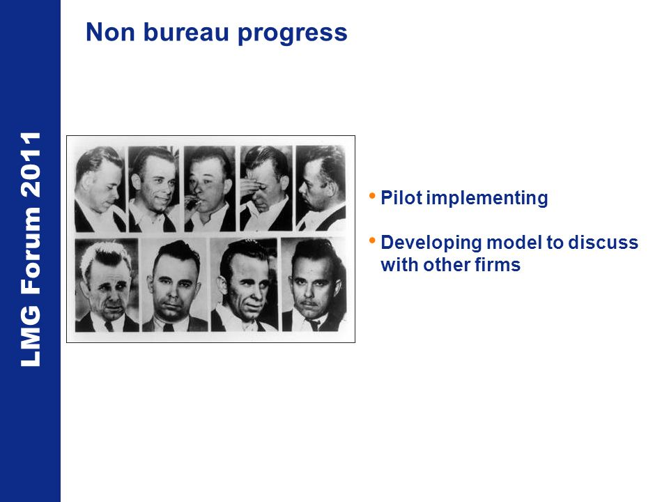 LMG Forum 2011 Non bureau progress Pilot implementing Developing model to discuss with other firms