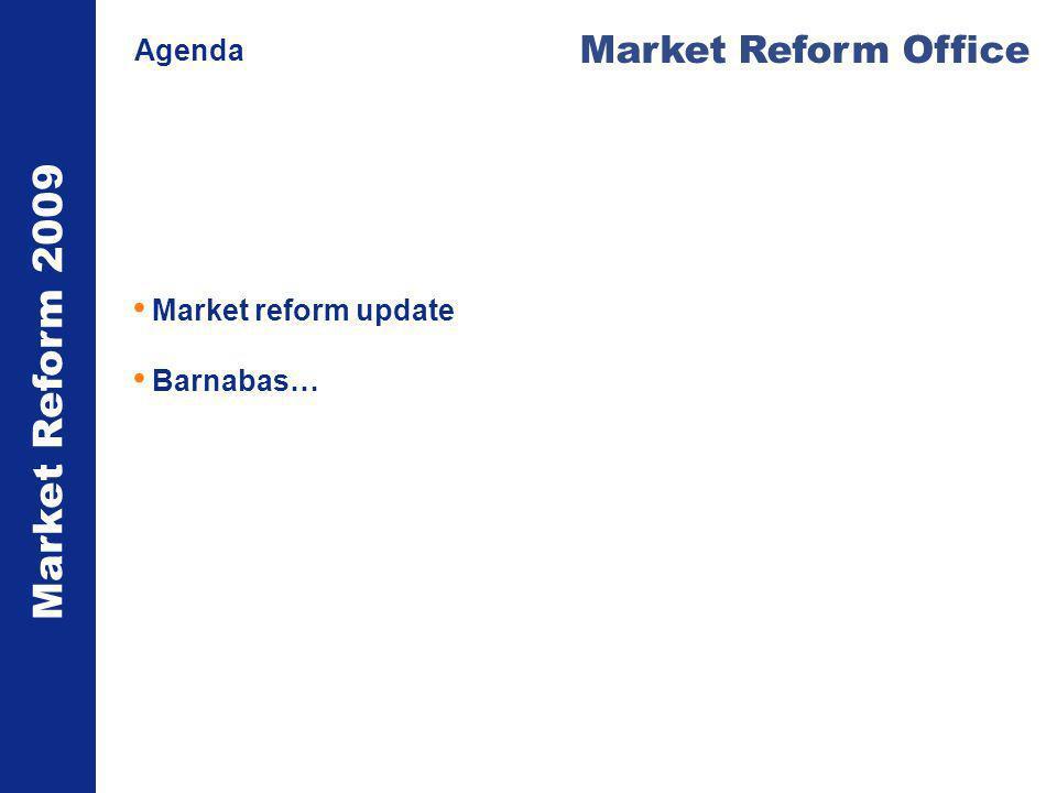 Market Reform 2009 Market Reform Office Agenda Market reform update Barnabas…