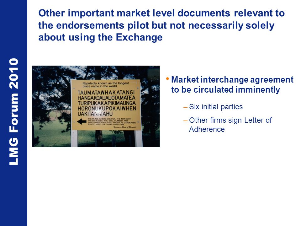 LMG Forum 2010 Other important market level documents relevant to the endorsements pilot but not necessarily solely about using the Exchange Market in
