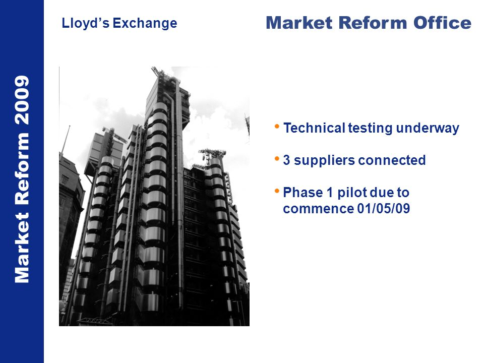 Market Reform 2009 Market Reform Office Lloyds Exchange Technical testing underway 3 suppliers connected Phase 1 pilot due to commence 01/05/09