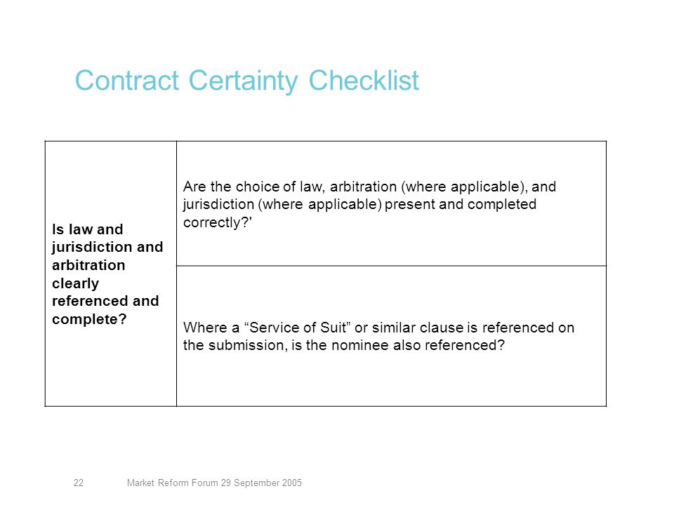 Market Reform Forum 29 September 200522 Contract Certainty Checklist Is law and jurisdiction and arbitration clearly referenced and complete.