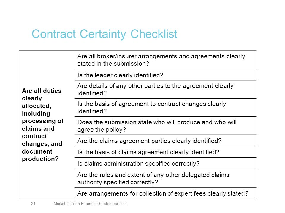 Market Reform Forum 29 September 200524 Contract Certainty Checklist Are all duties clearly allocated, including processing of claims and contract changes, and document production.