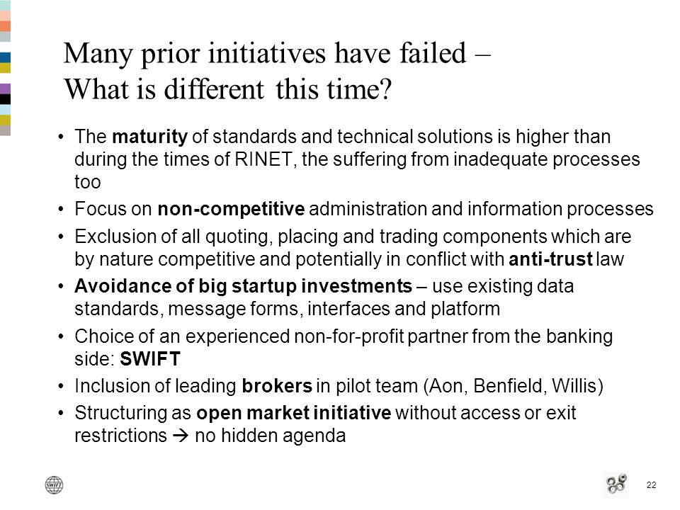 22 Many prior initiatives have failed – What is different this time.