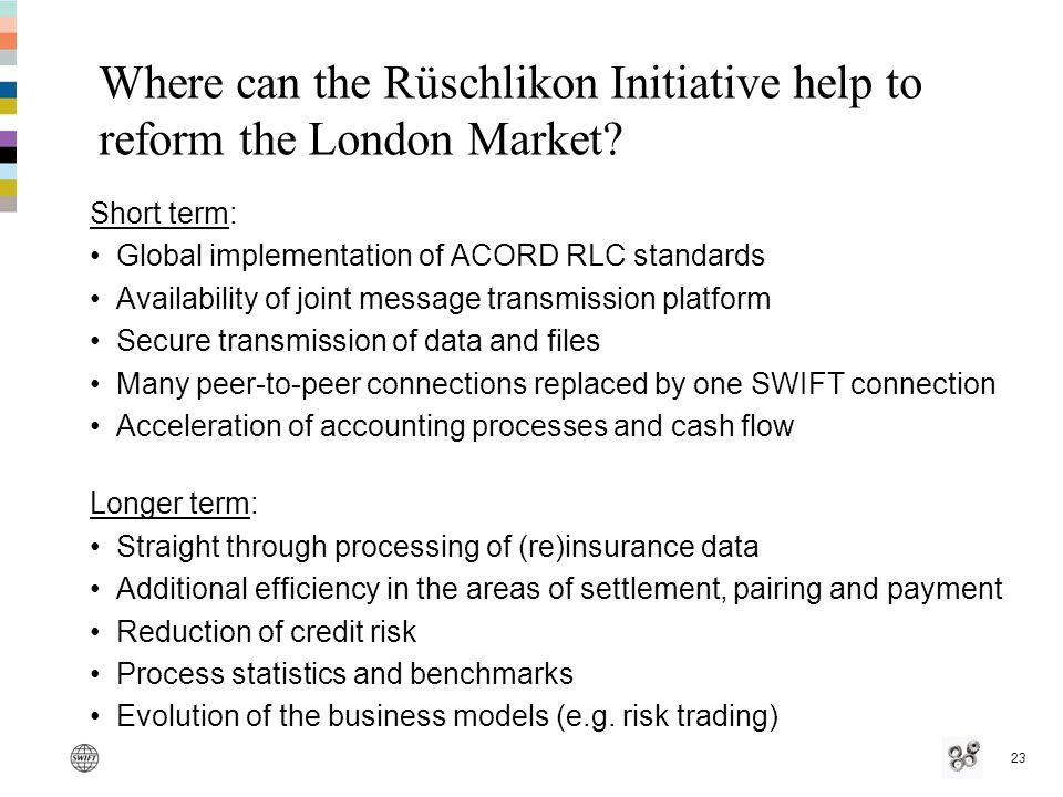 23 Where can the Rüschlikon Initiative help to reform the London Market.