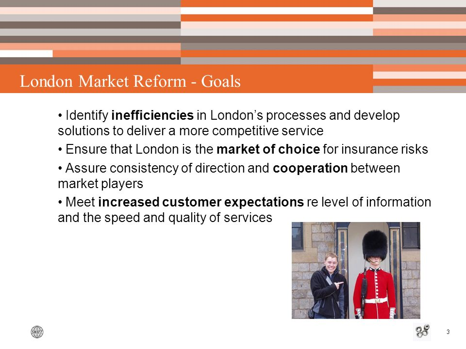 3 London Market Reform - Goals Identify inefficiencies in Londons processes and develop solutions to deliver a more competitive service Ensure that London is the market of choice for insurance risks Assure consistency of direction and cooperation between market players Meet increased customer expectations re level of information and the speed and quality of services