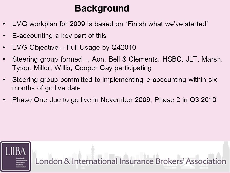 Background LMG workplan for 2009 is based on Finish what weve started E-accounting a key part of this LMG Objective – Full Usage by Q42010 Steering gr