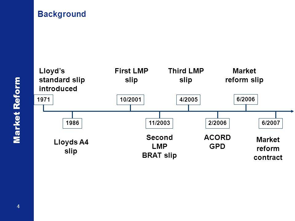 Market Reform 4 Background 1971 Lloyds standard slip introduced 1986 Lloyds A4 slip 10/2001 First LMP slip 11/2003 Second LMP BRAT slip 4/2005 Third L