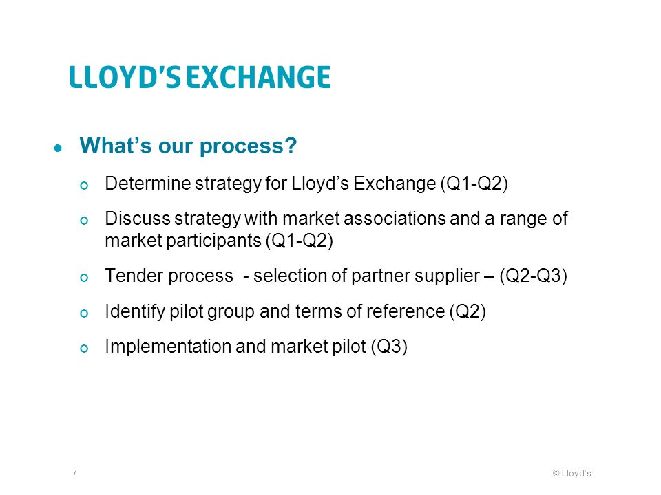 © Lloyds7 Lloyds Exchange Whats our process? Determine strategy for Lloyds Exchange (Q1-Q2) Discuss strategy with market associations and a range of m