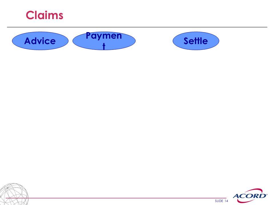 SLIDE 14 Claims Advice Paymen t Settle
