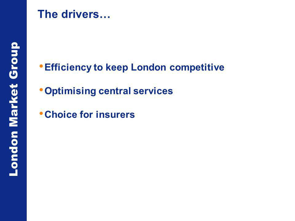London Market Group The drivers… Efficiency to keep London competitive Optimising central services Choice for insurers