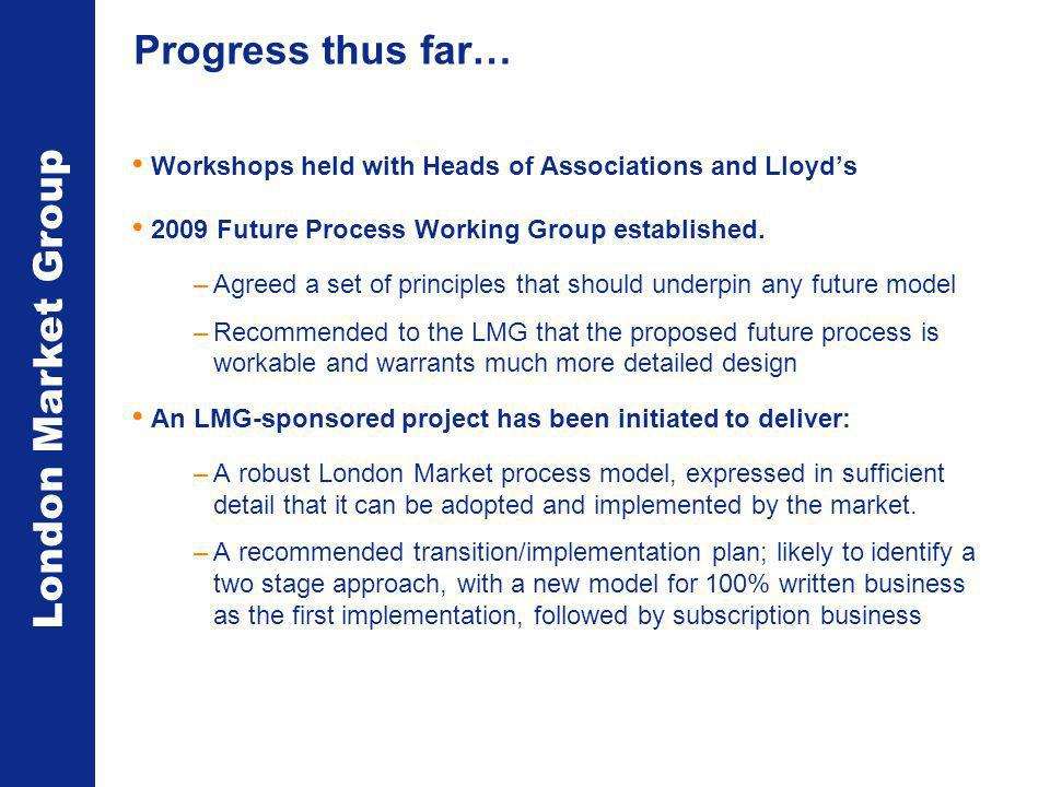 London Market Group Progress thus far… Workshops held with Heads of Associations and Lloyds 2009 Future Process Working Group established.