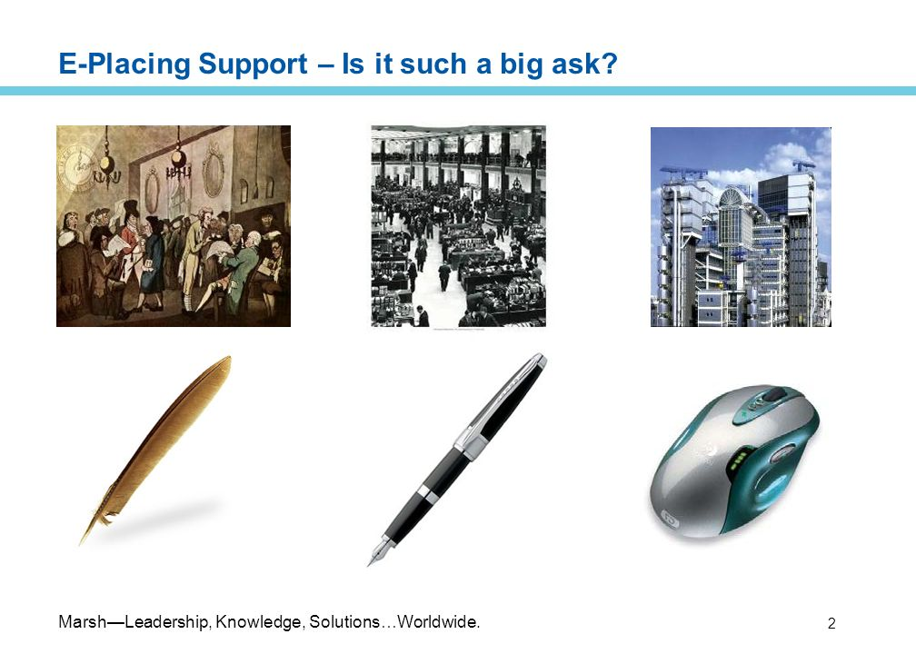 MarshLeadership, Knowledge, Solutions…Worldwide. 2 E-Placing Support – Is it such a big ask