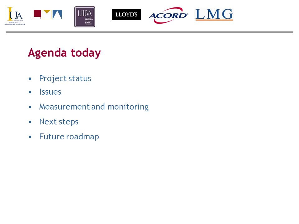 Agenda today Project status Issues Measurement and monitoring Next steps Future roadmap