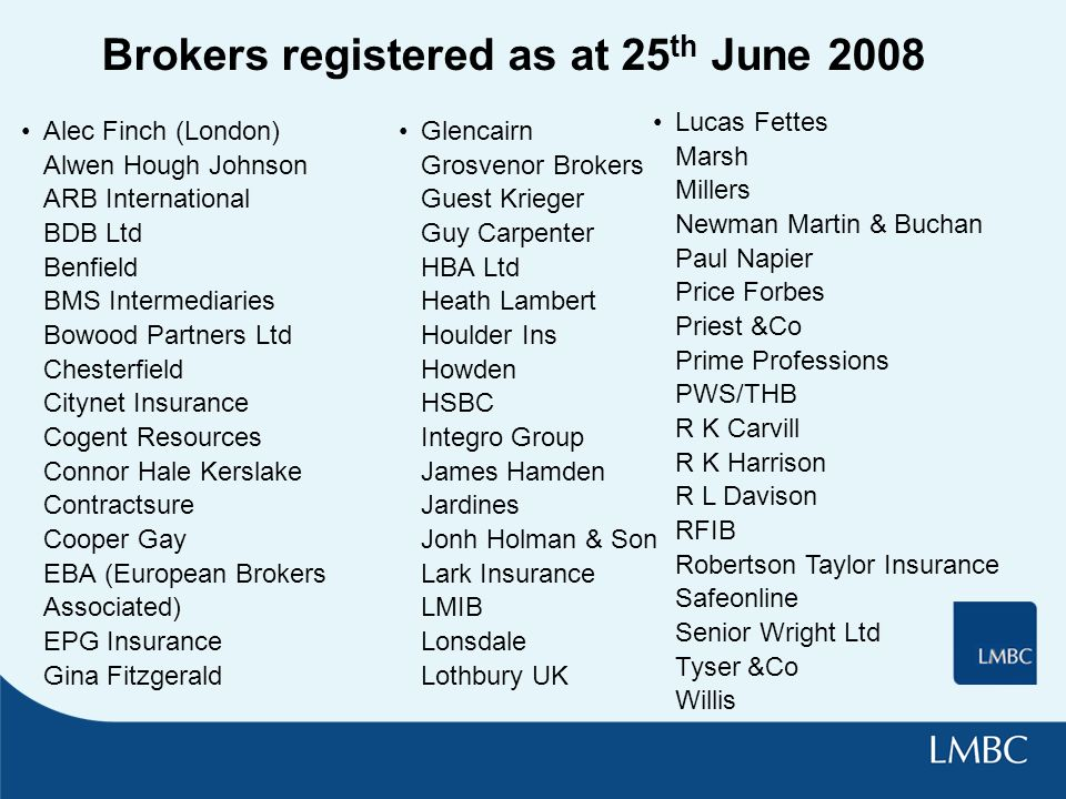 Brokers registered as at 25 th June 2008 Alec Finch (London) Alwen Hough Johnson ARB International BDB Ltd Benfield BMS Intermediaries Bowood Partners Ltd Chesterfield Citynet Insurance Cogent Resources Connor Hale Kerslake Contractsure Cooper Gay EBA (European Brokers Associated) EPG Insurance Gina Fitzgerald Glencairn Grosvenor Brokers Guest Krieger Guy Carpenter HBA Ltd Heath Lambert Houlder Ins Howden HSBC Integro Group James Hamden Jardines Jonh Holman & Son Lark Insurance LMIB Lonsdale Lothbury UK Lucas Fettes Marsh Millers Newman Martin & Buchan Paul Napier Price Forbes Priest &Co Prime Professions PWS/THB R K Carvill R K Harrison R L Davison RFIB Robertson Taylor Insurance Safeonline Senior Wright Ltd Tyser &Co Willis