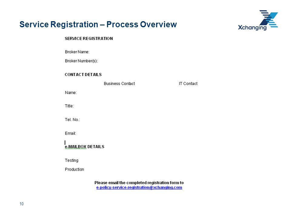 10 Service Registration – Process Overview