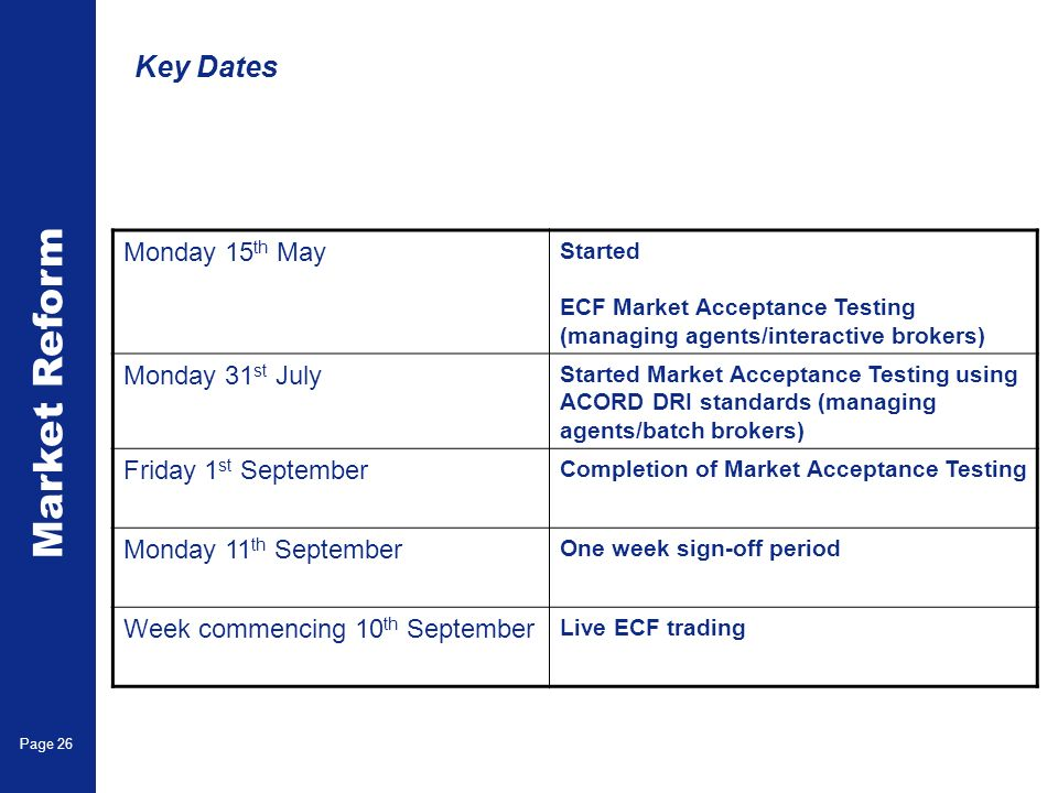 Market Reform Page 26 Key Dates Monday 15 th May Started ECF Market Acceptance Testing (managing agents/interactive brokers) Monday 31 st July Started Market Acceptance Testing using ACORD DRI standards (managing agents/batch brokers) Friday 1 st September Completion of Market Acceptance Testing Monday 11 th September One week sign-off period Week commencing 10 th September Live ECF trading