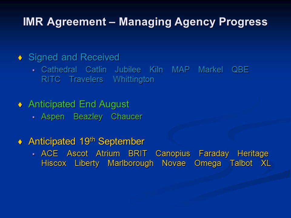 The Insurers Market Repository Agreement Implementation Progress Market Reform Forum 28 th August 2008