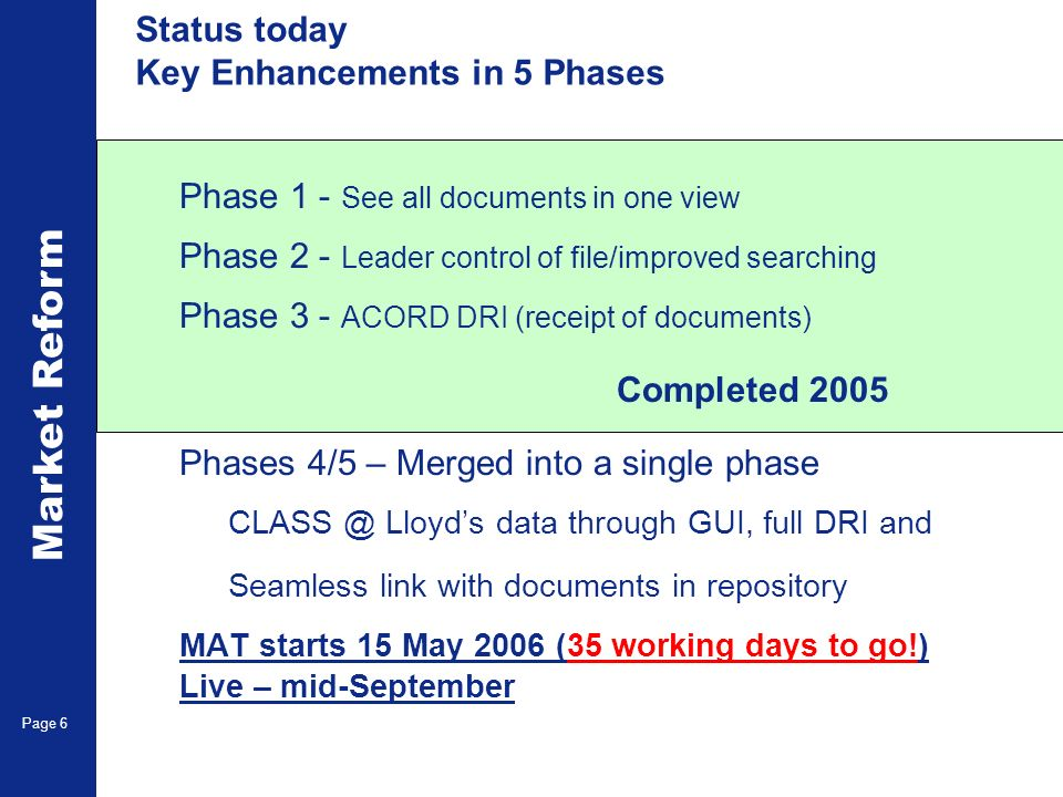 Market Reform Electronic Claims Page 6 Status today Key Enhancements in 5 Phases Phase 1 - See all documents in one view Phase 2 - Leader control of file/improved searching Phase 3 - ACORD DRI (receipt of documents) Completed 2005 Phases 4/5 – Merged into a single phase CLASS @ Lloyds data through GUI, full DRI and Seamless link with documents in repository MAT starts 15 May 2006 (35 working days to go!) Live – mid-September
