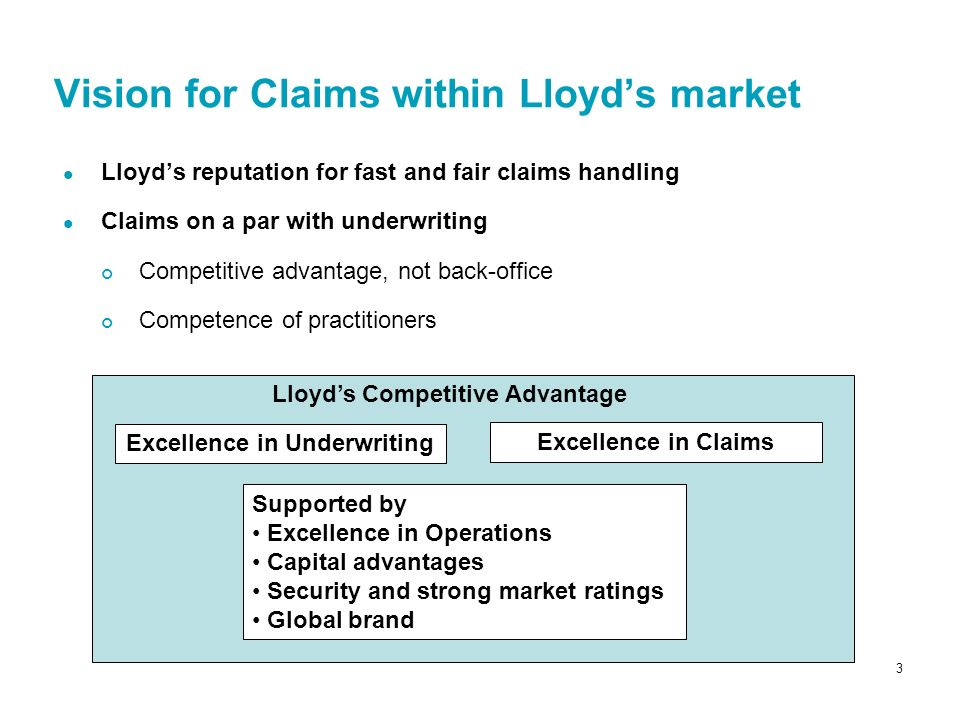 4 Six key recommendations to drive excellence in claims handling 1.Enhance current segmentation Tailor activities to risk and value of claim Change responsibility for parties in agreement process 2.Introduce choice – managing agents manage claims or provide peer review using In-house teams Lloyds approved outsourced service provider(s) 3.Enable increased flexibility in notification and settlement Allow parties other than London brokers to notify claim Enable direct settlement with clients or their representatives 4.