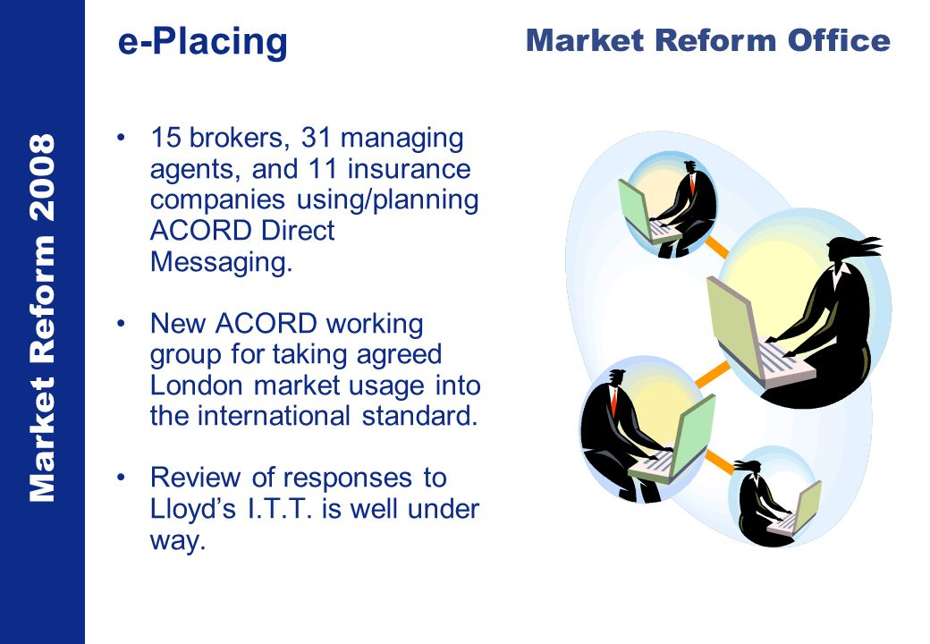 Market Reform 2008 Market Reform Office e-Placing 15 brokers, 31 managing agents, and 11 insurance companies using/planning ACORD Direct Messaging.