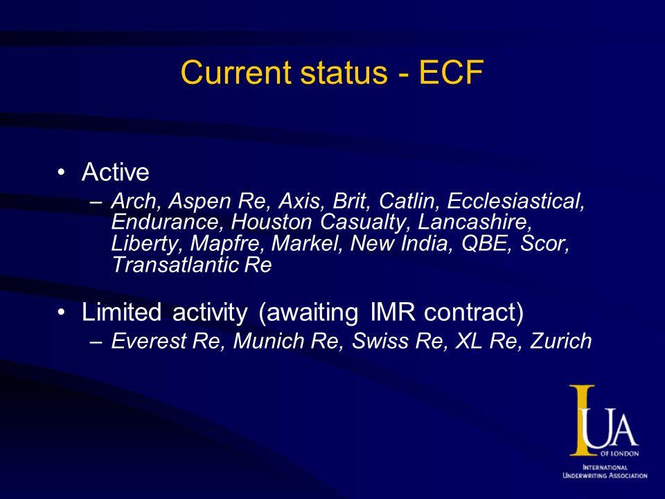Current status - ECF Active –Arch, Aspen Re, Axis, Brit, Catlin, Ecclesiastical, Endurance, Houston Casualty, Lancashire, Liberty, Mapfre, Markel, New