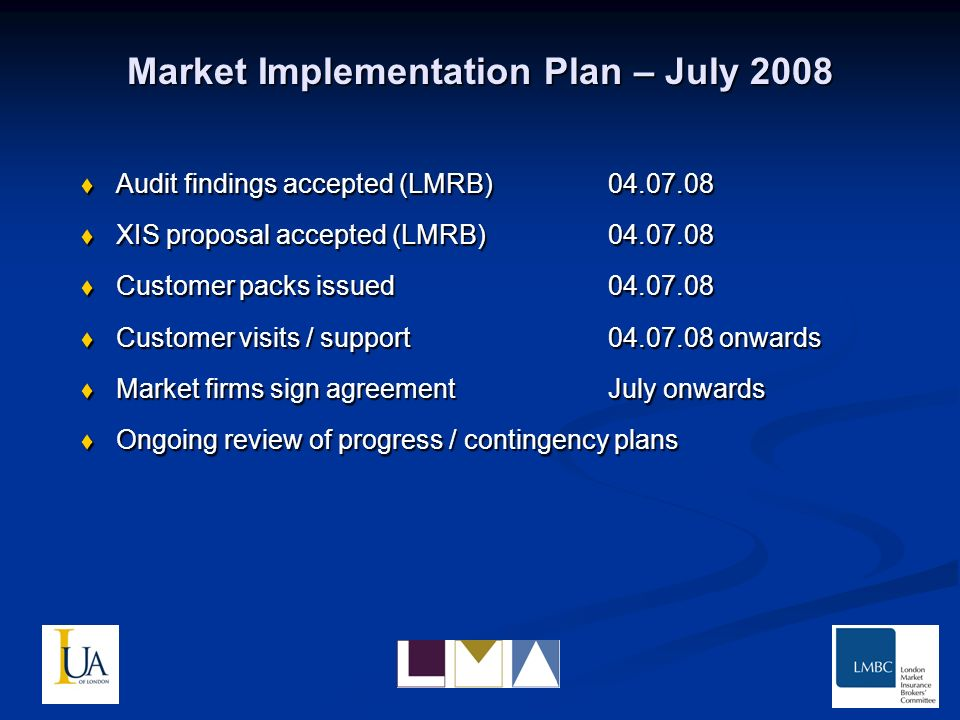 Market Implementation Plan – July 2008 Audit findings accepted (LMRB)04.07.08 Audit findings accepted (LMRB)04.07.08 XIS proposal accepted (LMRB)04.07.08 XIS proposal accepted (LMRB)04.07.08 Customer packs issued04.07.08 Customer packs issued04.07.08 Customer visits / support04.07.08 onwards Customer visits / support04.07.08 onwards Market firms sign agreementJuly onwards Market firms sign agreementJuly onwards Ongoing review of progress / contingency plans Ongoing review of progress / contingency plans