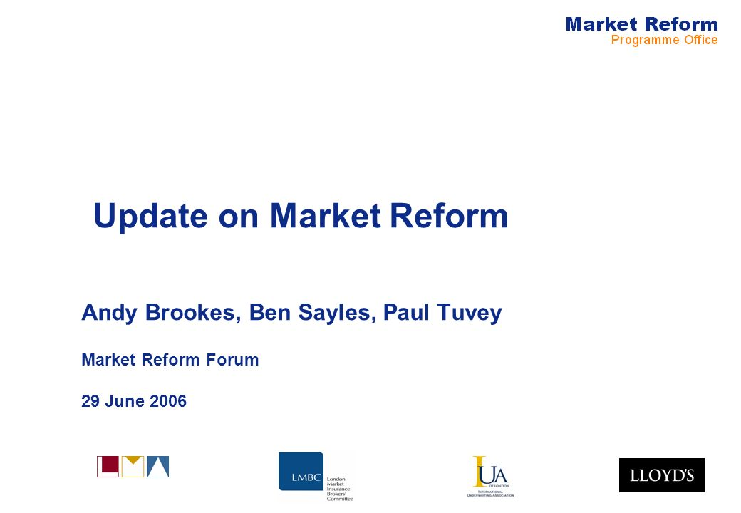 Market Reform Page 11 Claims Infrastructure On track for software delivery to allow electronic claims processing in the Lloyds market using ACORD DRI standards.