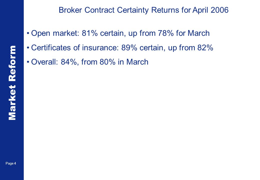 Market Reform Page 5 Broker Contract certainty Returns for April 2006 The overall score continues to improve